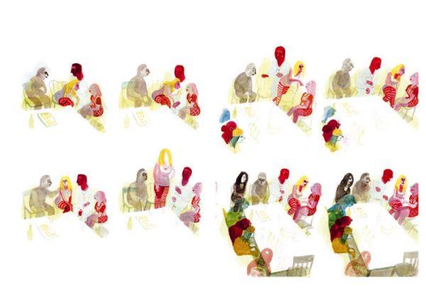 Les Noceurs - 2008-2009 encre de chine, encre aquarelle, gouache - 66 x 40 cm Réf. : Brecht101