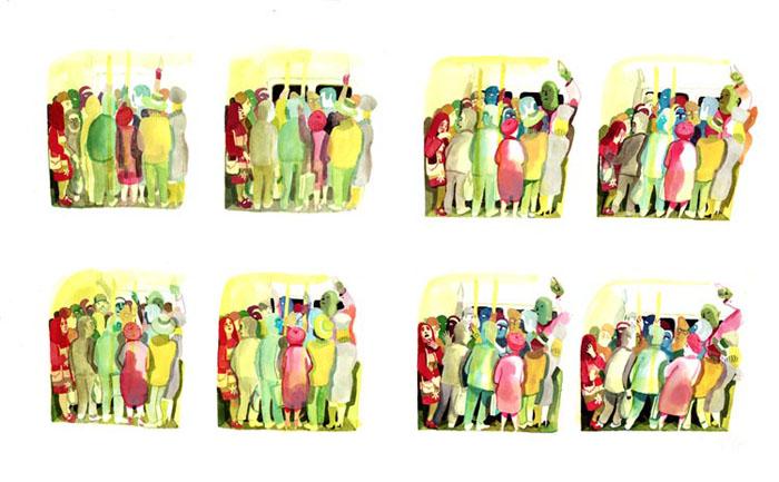 Les Noceurs - 2008-2009 encre de chine, encre aquarelle, gouache - 66 x 40 cm Réf. : Brecht102
