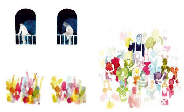 Les Noceurs - 2008-2009 encre de chine, encre aquarelle, gouache - 66 x 40 cm Réf. : Brecht108