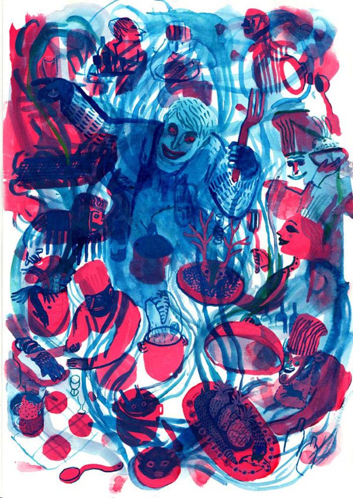 How to cook a Gorilla encre de chine, encre aquarelle, gouache - 21 x 30 cm Réf. : Brecht122