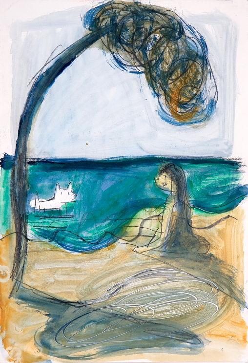 Garriris en la playa - 2000 aquarelle sur papier - 35 x 50 cm Réf. : Maris029