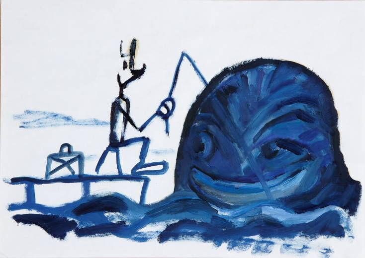 Fermin y ballena azul - 1977 acrylique sur papier - 42 x 21 cm Réf. : Maris032