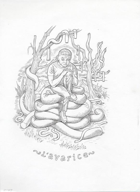 Les 7 péchés capitaux (Les arts dessinés) - 2019 Encre sur papier - 28 x 33 cm Réf. : debeurme20-030