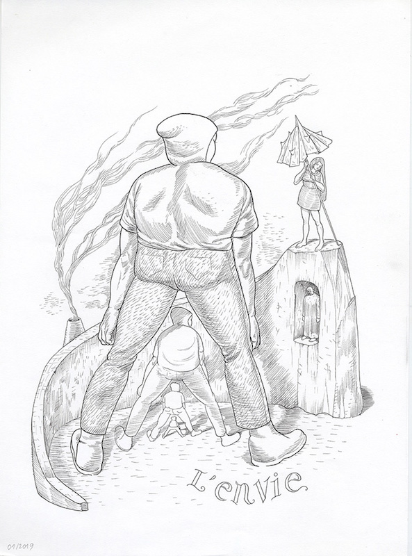 Les 7 péchés capitaux (Les arts dessinés) - 2019 Encre sur papier - 28 x 33 cm Réf. : debeurme20-031