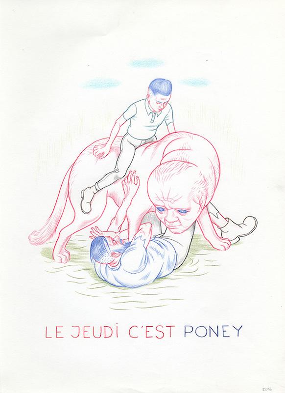 7 jours dans la vie de 3 fils (Nicole) 2016 - Crayon sur papier - 28 x 38 cm Réf. : debeurme20-034