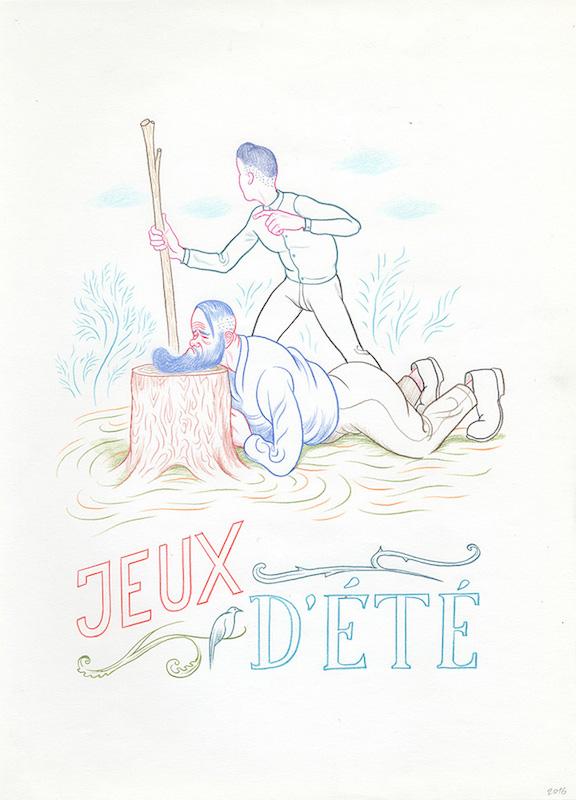 7 jours dans la vie de 3 fils (Nicole) 2016 - Crayon sur papier - 28 x 38 cm Réf. : debeurme20-036