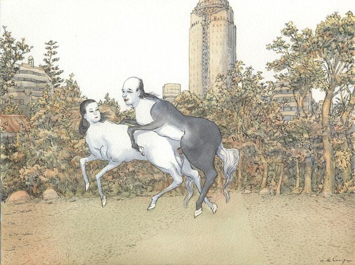 Mori tower - 2012 encre, aquarelle - 29 x 31 cm Ref. : crecy015