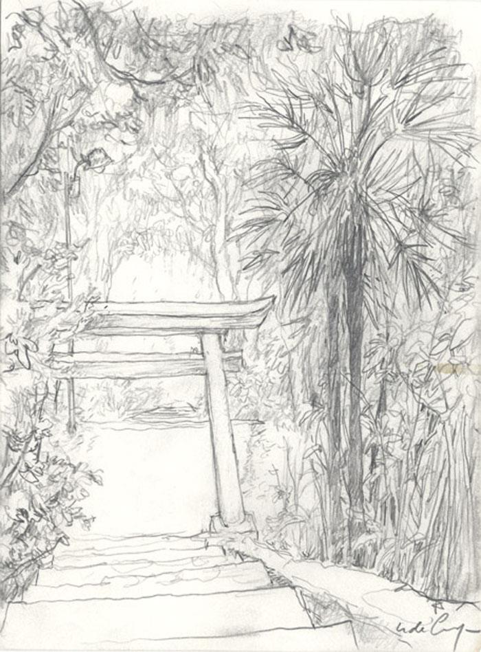 Un torii rongé part la végétation - 2008 pastel, crayon de couleur - 16 x 21,8 cm Réf. : crecy036