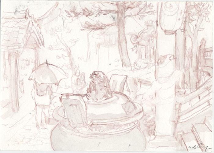 Batiments du temple - 2008 pastel, crayon de couleur, aquarelle - 20,9 x 15 cm Ref. : crecy064