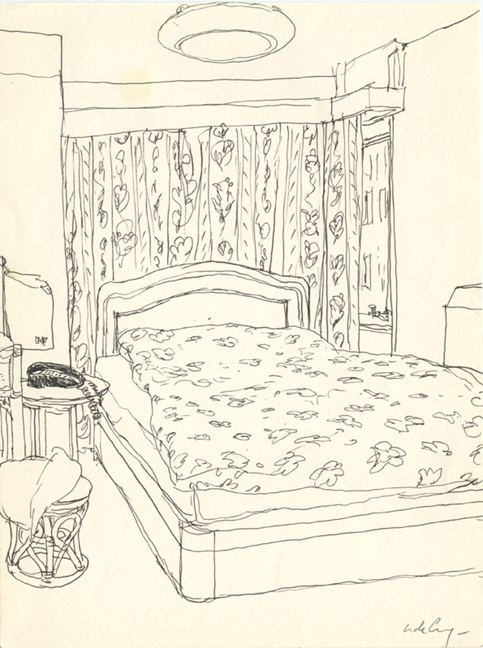 Chambre d'hotel - 2008 crayon - 21 x 28 cm Ref. : crecy075