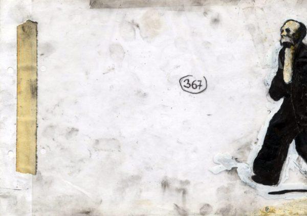 Uomo Cane - 2013 pastel gras, encre de chine, fusain - 30 x 21 cm Réf. : ricci141