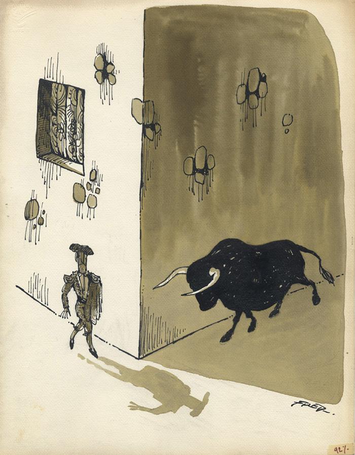 Matador & Taureau lavis - 25 x 32,5 cm Réf. : Fred0_032 -