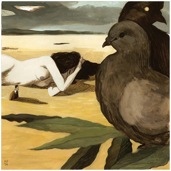 Qasida delle colombe oscure - Repubblica - 2014 38 x 28 cm gouache sur papier Réf: fior034