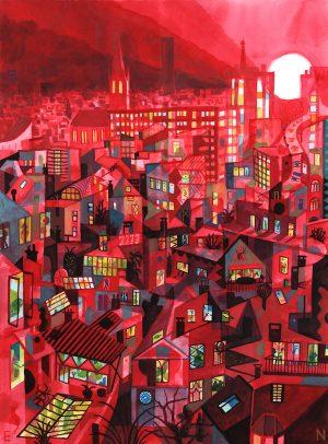 Brecht Evens - Paris, Crepuscule sérigraphie 100 exemplaires 48 x 64,5 cm