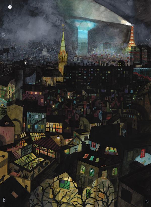 Brecht Evens - Paris, Nuit sérigraphie 100 exemplaires 48 x 64,5 cm