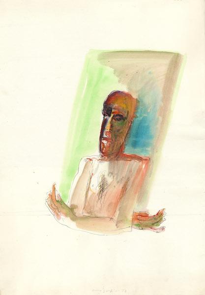 Figura - 1973 Aquarelle sur papier -  50 x 70 cm Réf. : borgini023