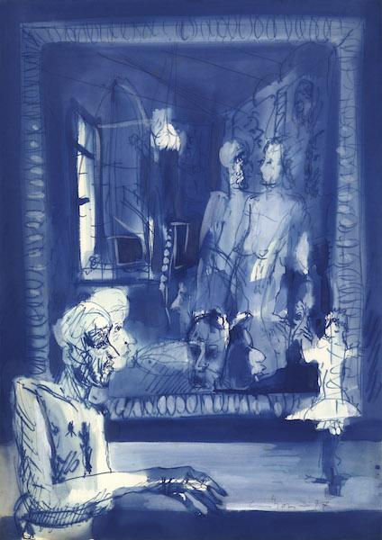Artista allo specchio - 1977 Encre colorée sur papier -  50 x 70 cm Réf. : borgini024