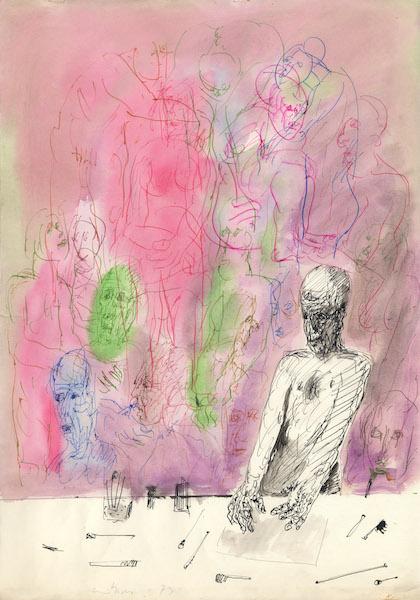L'artista nello studio - 1973 Encre de chine et aquarelle sur papier -  50 x 70 cm Réf. : borgini035
