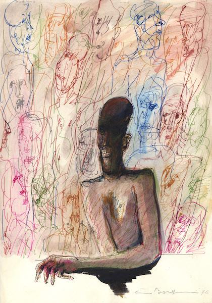 L'artista - 1976 Technique mixte -  50 x 70 cm Réf. : borgini037