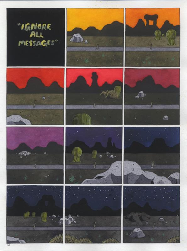 One More Year, Ignore all Messages, p.160 - 2016 technique mixte sur papier  21 x 29 cm (2 pages) Réf. : hanselmann-006(1)
