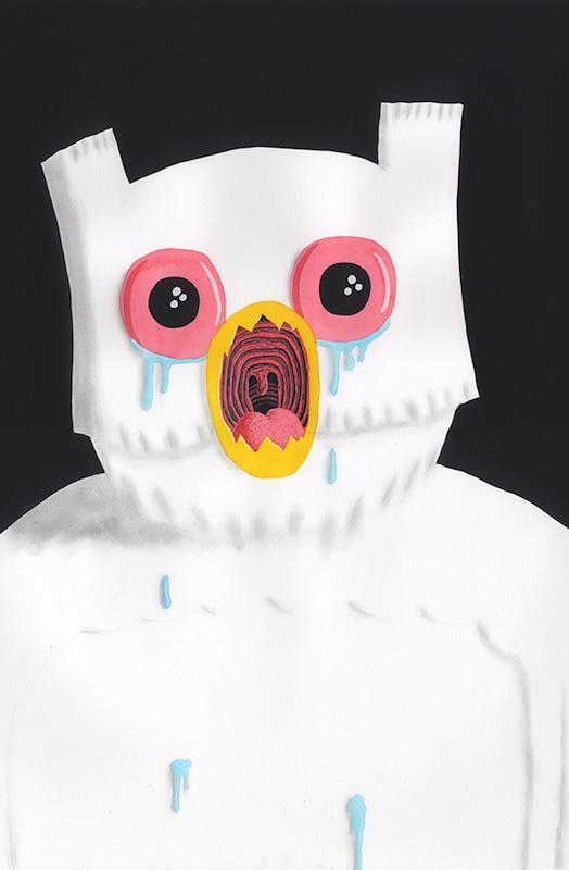 Owl - 2017 technique mixte sur papier - 61 x 48 cm Réf. : hanselmann-031