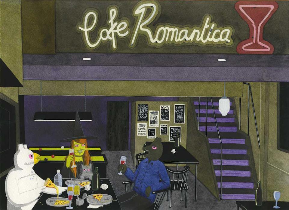 Café Romantica - inédit - 2017 technique mixte sur papier - 38 x 28 cm Réf. : hanselmann-041