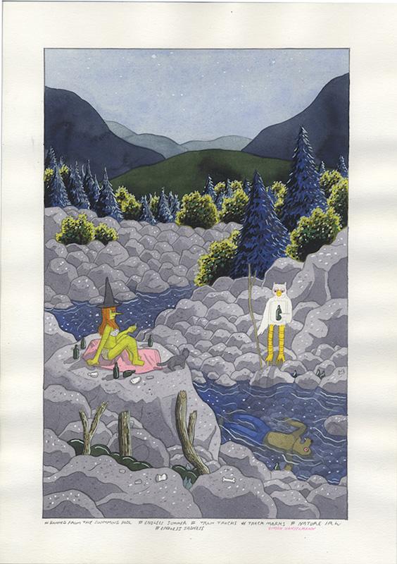 Banned from the Swimmingpool, cover - 2015 technique mixte sur papier - 23 x 30 cm Réf. : hanselmann-048