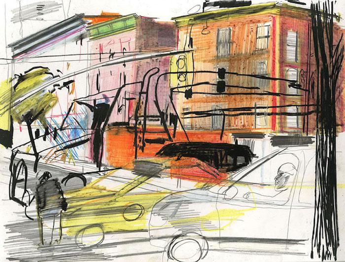 New York, 2018 pastel et crayon sur papier 32 x 25,5 Réf. : kebbi_DN19kebbi005