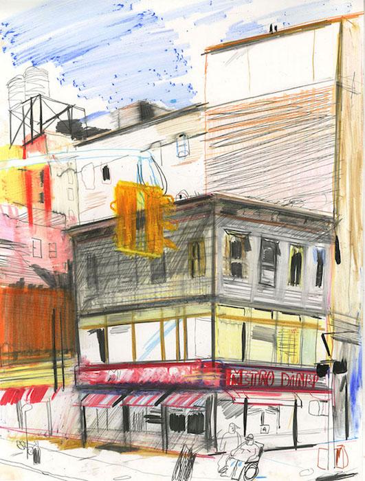New York, 2018 pastel et crayon sur papier 32 x 25,5 Réf. : kebbi_DN19kebbi010