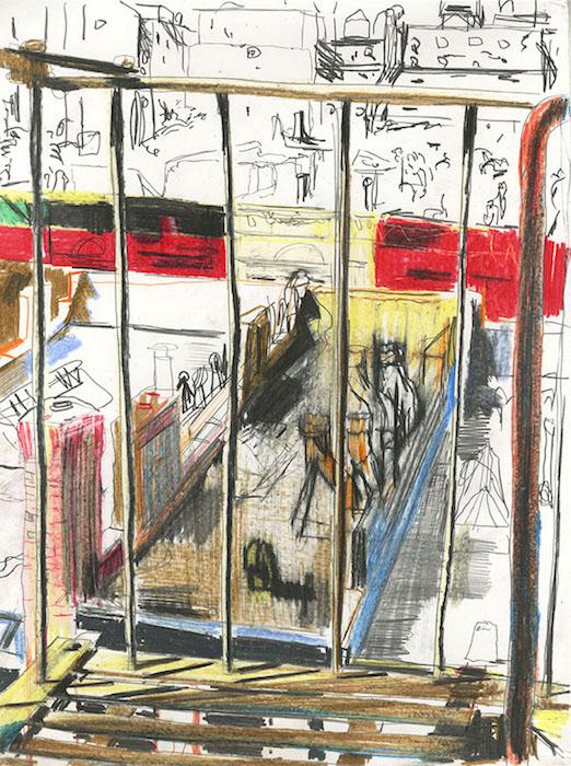 New York, 2018 pastel et crayon sur papier 32 x 25,5 Réf. : kebbi_DN19kebbi016