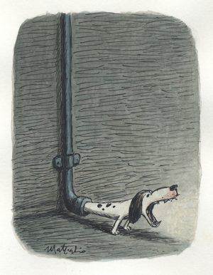 Grondaia che Abbaia - 2015 encre de chine et aquarelle sur papier - 11 x 13 cm Réf. : matticchio058