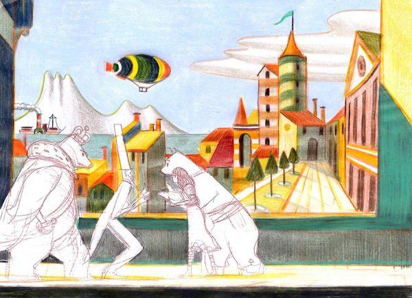 La fameuse invasion des ours en Sicile 2013 - 2019 Crayon et pastel sur papier 31 x 23 cm Réf. : mattottiours_028