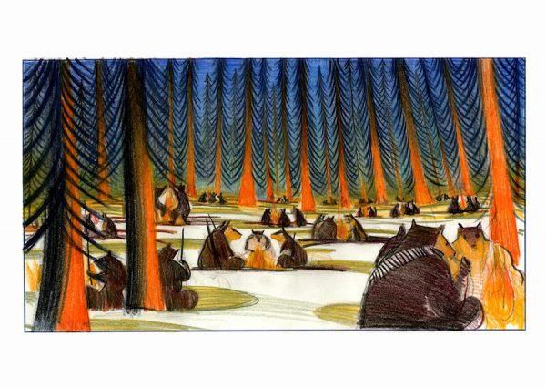 La fameuse invasion des ours en Sicile 2013 - 2019 Crayon et pastel sur papier 40 x 23 cm Réf. : mattottiours_031