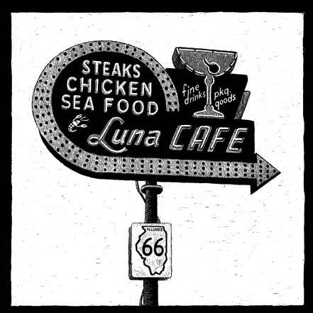 Luna Cafe, 201 E Chain of Rocks Rd, Mitchell, IL carte à gratter - 15 x 15 cm Réf. : ott017