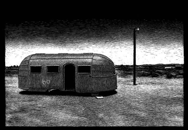 Jack Palance's trailer in the movie Bagdad Cafe carte à gratter - 22 x 15 cm Réf. : ott077