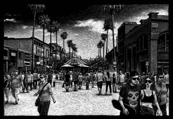 Santa Monica, Third Street, CA carte à gratter - 22 x 15 cm< Réf. : ott080