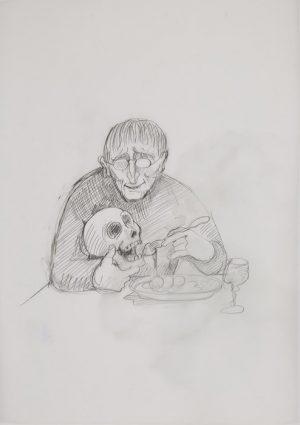 Untitled - autoportrait - 2009 Pencil on translucent paper - 30 x 40 cm Réf : ungerer18_021