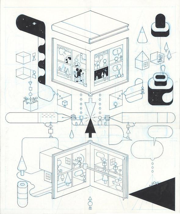 Comics Collage - Triangle - 2018 encre de chine sur papier - 23 x 25,5 Réf. : ware18_006