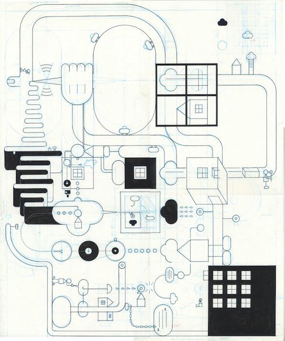 Comics Collage - Square - 2018 encre de chine sur papier - 23 x 25,5 Réf. : ware18_007