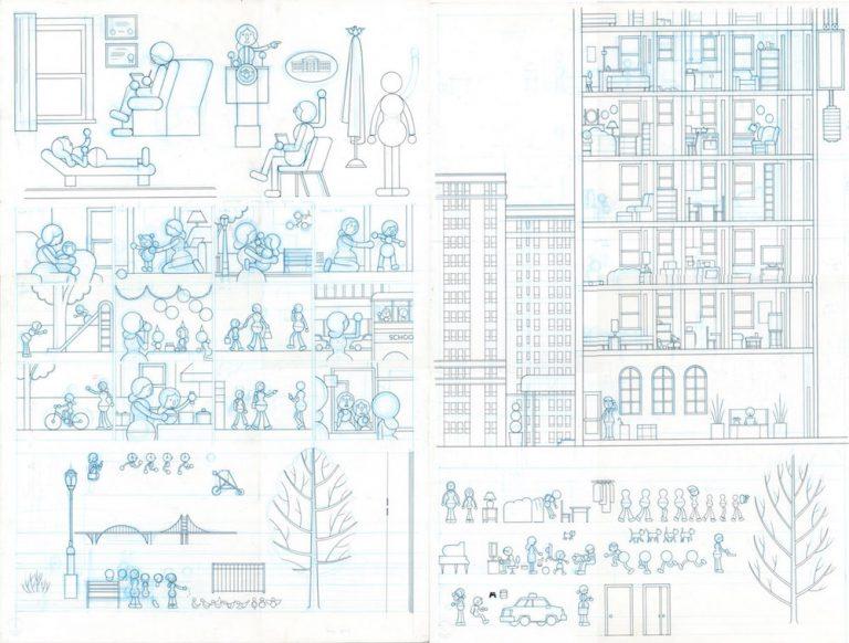 "New Yorker ""Mirror Animation Drawing - Memories of Motherhood / Apartment Building - 2015 encre de chine sur papier - 20"