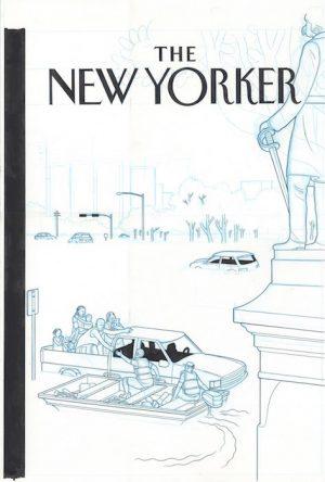 New Yorker cover - Hurricane Harvey - 2017 encre de chine sur papier - 20 x 28 Réf. : ware18_031